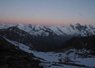Dawn over the Valais peaks