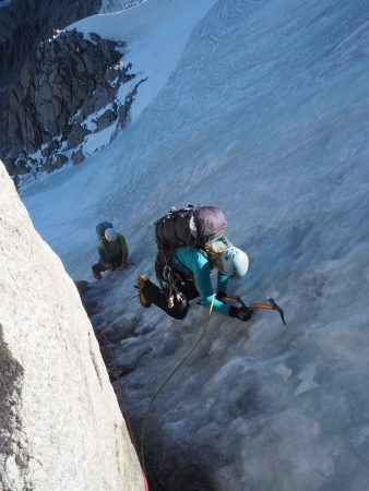 Climbing the steeper ice pitch at the top of the Frendo Spur. Probably 65 degrees or a little steeper for a couple of moves